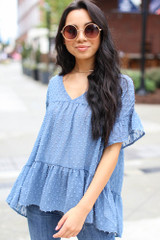 Denim - Swiss Dot Tiered Babydoll Blouse from Dress Up