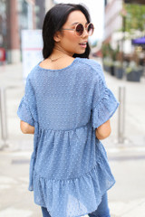 Swiss Dot Tiered Babydoll Blouse in Denim Back View