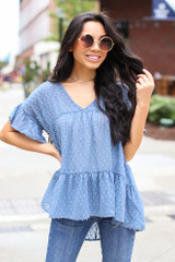 Swiss Dot Tiered Babydoll Blouse in Denim Front View