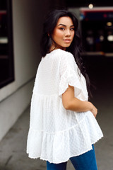 Swiss Dot Tiered Babydoll Blouse in White Back View