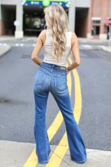 Distressed Flare Jeans Back View