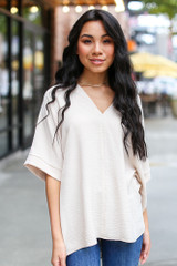 Taupe - Textured Oversized Blouse
