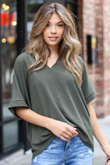 Olive - Model wearing a Textured Oversized Blouse