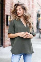 Olive - Dress Up model wearing a Textured Oversized Blouse