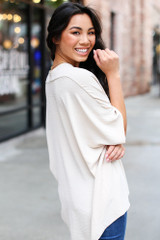 Textured Oversized Blouse in Taupe Side View