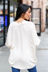Textured Oversized Blouse in Taupe Back View