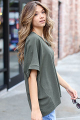 Textured Oversized Blouse in Olive Side View