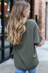 Textured Oversized Blouse in Olive Back View