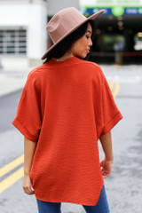 Textured Oversized Blouse in Rust Back View
