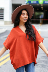 Textured Oversized Blouse in Rust Front View