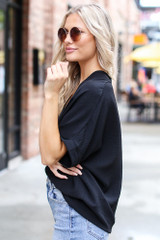 Textured Oversized Blouse in Black Side View