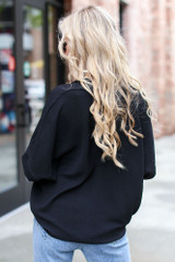 Textured Oversized Blouse in Black Back View