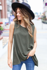 Olive - Model wearing a Textured Tank