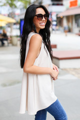 Textured Tank in Taupe Side View