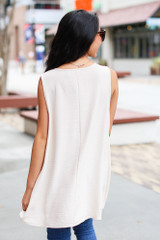 Textured Tank in Taupe Back View