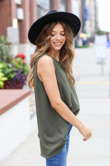 Textured Tank in Olive Side View