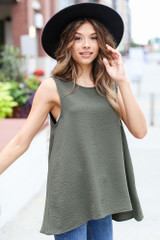 Textured Tank in Olive Front View