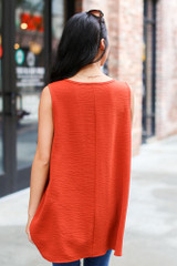 Textured Tank in Rust Back View