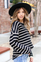 Oversized Striped Sweater Side View