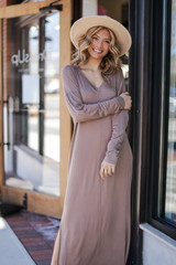 Taupe - Model wearing a V-Neck Maxi Dress with nude booties
