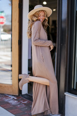 V-Neck Maxi Dress in Taupe Side View
