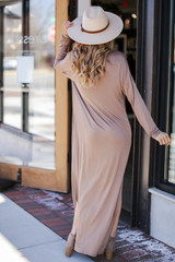 V-Neck Maxi Dress in Taupe Back View