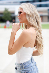 Cami Bodysuit in White Side View