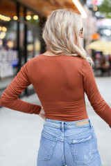 V-Neck Bodysuit in Camel Back View