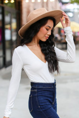 V-Neck Bodysuit in White Side View