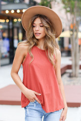 Marsala - Dress Up model wearing a Basic Tank with a wide brim hat