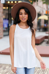 White - Dress Up model wearing a Basic Tank with light wash jeans