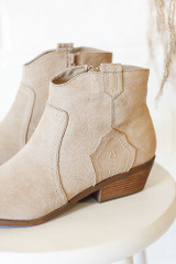 Close Up of Microsuede Ankle Booties