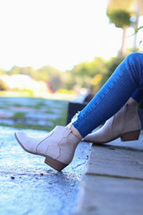 Taupe - Microsuede Ankle Booties from Dress Up