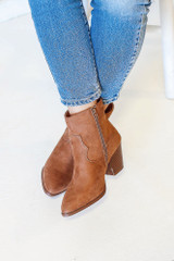 Front View of Pointed Toe Block Heel Booties
