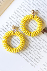 Yellow - Beaded Statement Earrings from Dress Up