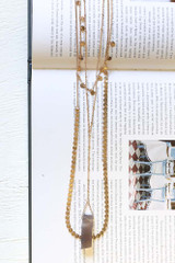 Gold - Layered Stone Charm Necklace from Dress Up