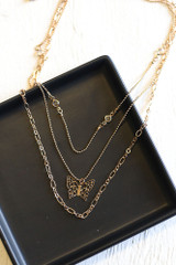 Gold - Butterfly Layered Necklace from Dress Up