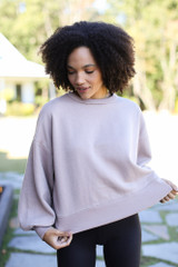 Mocha - Oversized Fleece Pullover from Dress Up