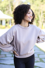 Oversized Fleece Pullover in Mocha Front View