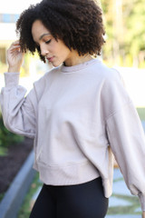 Oversized Fleece Pullover in Mocha Side View