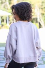 Oversized Fleece Pullover in Mocha Back View