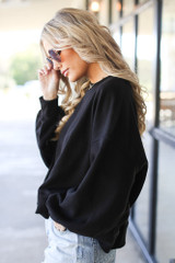 Oversized Fleece Pullover in Black Side View