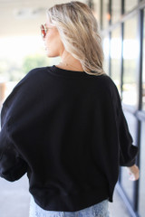 Oversized Fleece Pullover in Black Back View