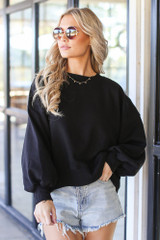 Oversized Fleece Pullover in Black Front View