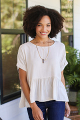 Natural - Oversized Peplum Blouse from Dress Up