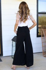 Paperbag Waist Wide Leg Pants Back View