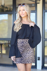 Black - Bell Sleeve Off-the-Shoulder Top from Dress Up