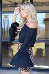 Bell Sleeve Off-the-Shoulder Top in Black Side View