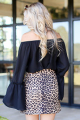 Bell Sleeve Off-the-Shoulder Top in Black Back View