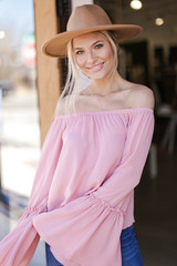 Blush - Dress Up model wearing a Bell Sleeve Off-the-Shoulder Top